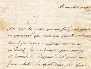 Première pagre de la lettre de Caroline Noguès
