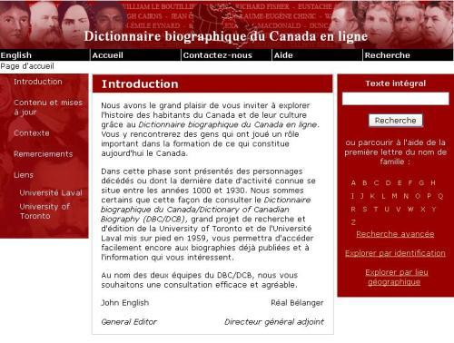 Dictionnaire du canada en ligne