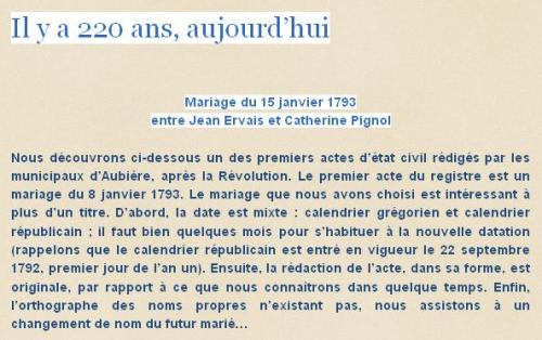 Mariage du 15 janvier 1793