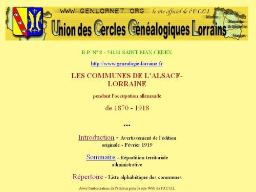 Communes d'Alsace Lorraine