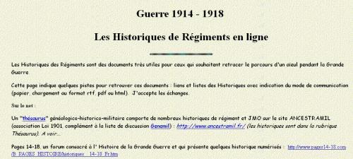 Historique des régiments en ligne