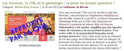 Mormons CNIL et généalogie