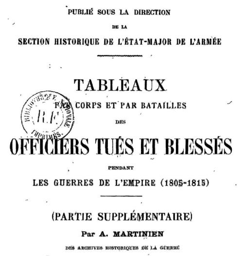 1805-1815 Officiers