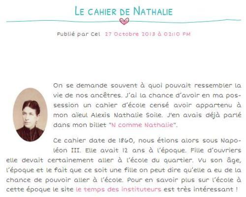 Le cahier de Nathalie