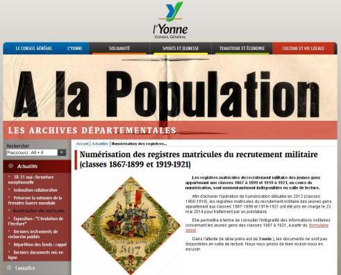 Registres militaire de l'Yonne