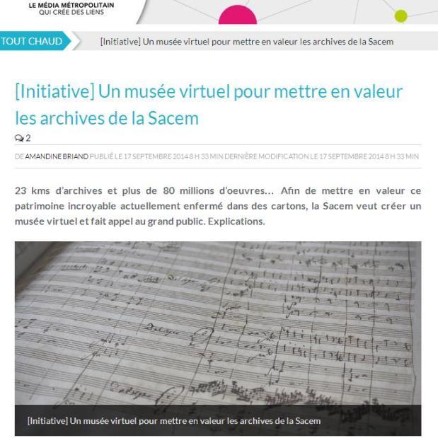Musée virtuel de la SACEM