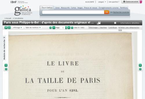 Taille de Paris en 1292