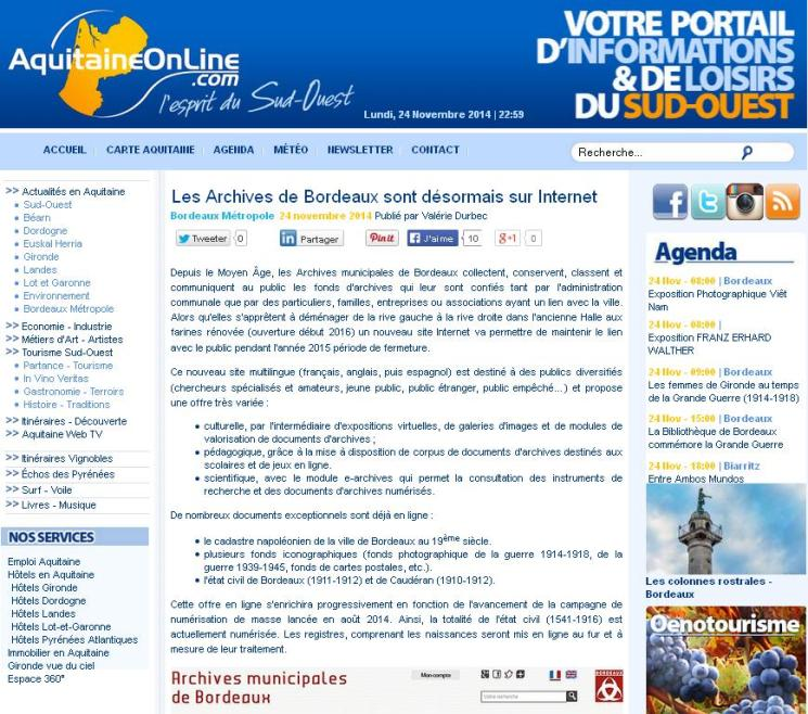 Archives de Bordeaux sur Internet