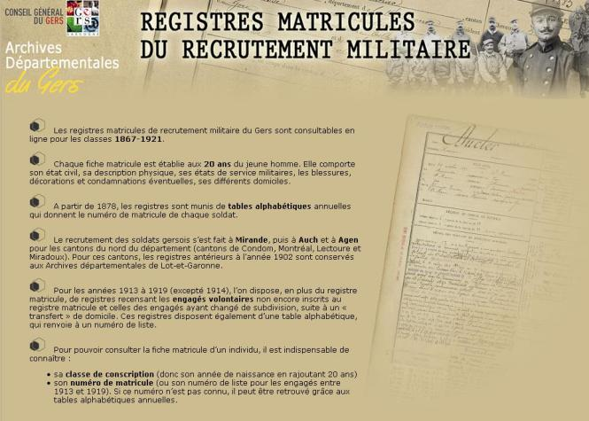 Gers Registres Matricules