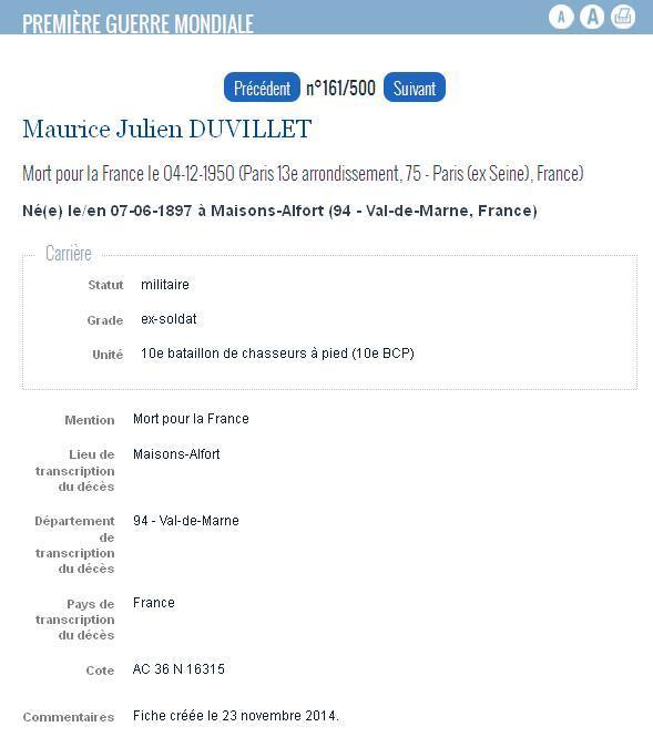 DUVILLET Maurice Julien DUVILLET 1897-1950 - MDH