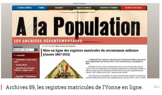 Yonne recensements en ligne