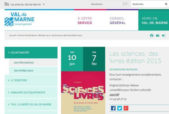 10 j au 7 f 2015 Les sciences des livres