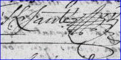 Signature de François KERSANTE (1738 - 1788), notaire et procureur à Eréac (22)