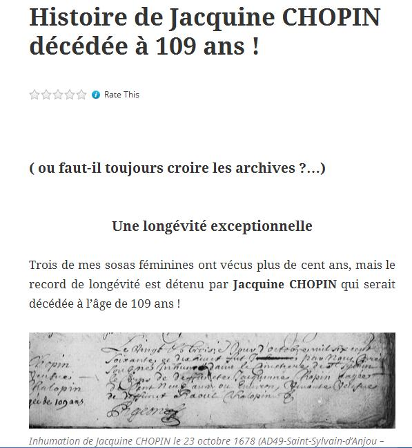 Jacquine CHOPIN - 109 ans