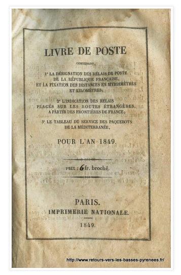 Livre de Poste 1849