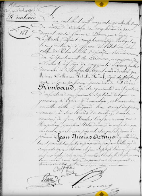 Acte de naissance d'Arthur Rimbaud, 20 octobre 1854, Série G, 5Mi 5R 28, Archives départementales des Ardennes