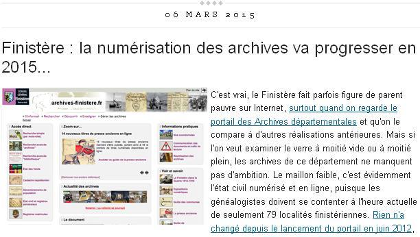 Finistère - numérisation