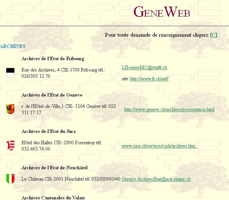 Généalogie en suisse