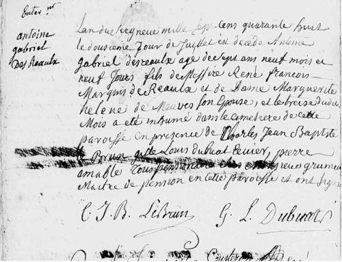 1748-0712 Décès Antoine Des Reaulx