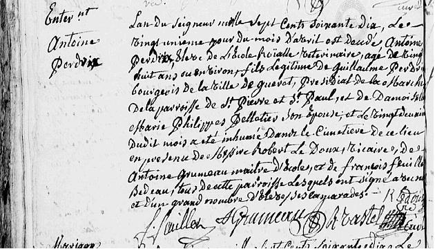 21 avril 1770 Vétérinaire Antoinre Perdrix