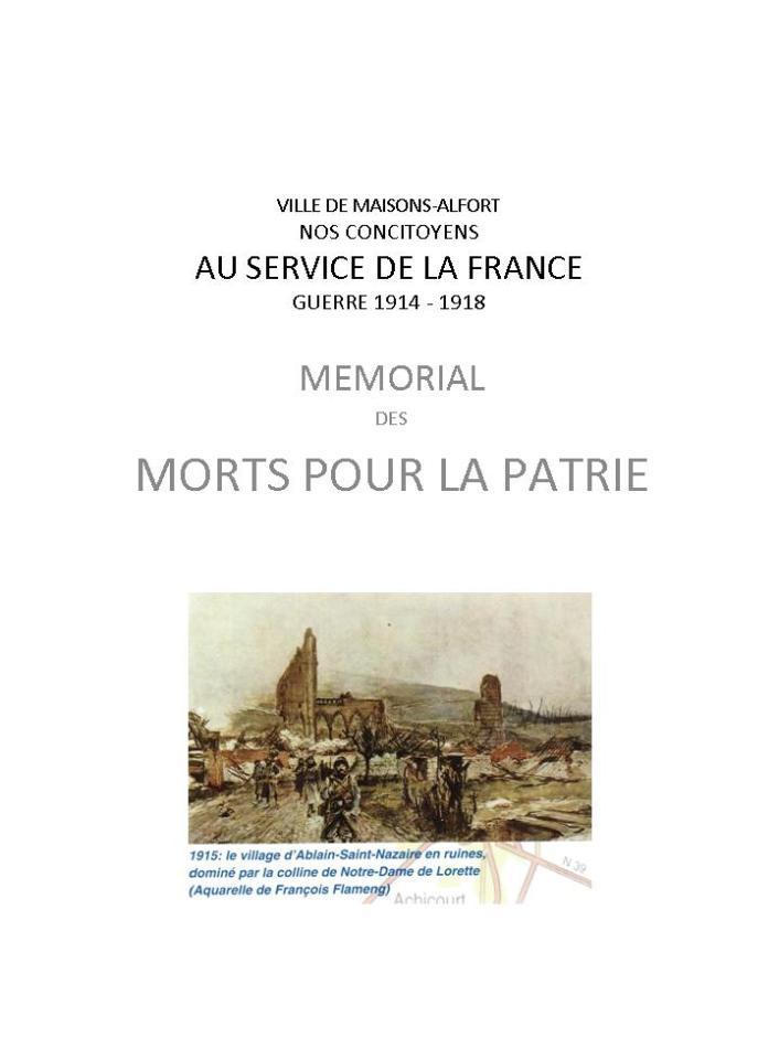 GUERRE 1914 - 1918 MEMORIAL
