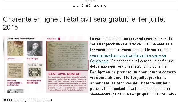 Charente gratuit le 1er juillet