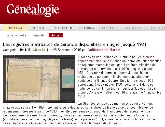 Registres Matricules de Gironde - 1921