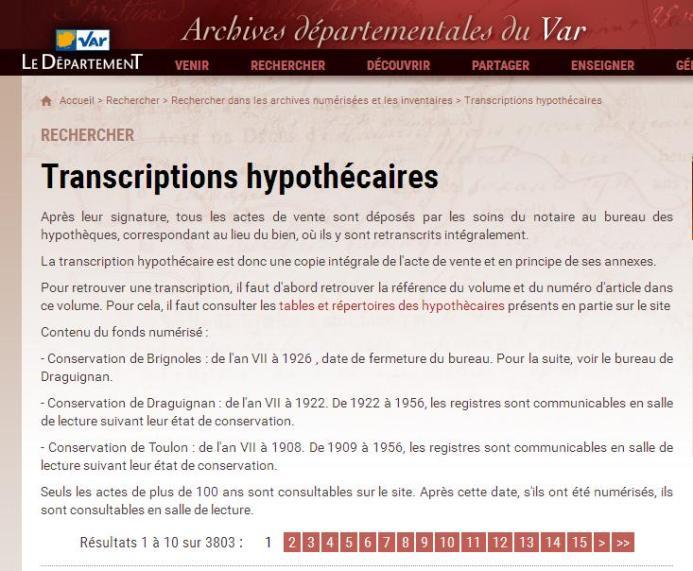 Var transcriptions hypothécaires
