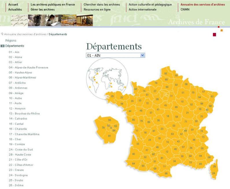 Annuaire des services d'archives départementales