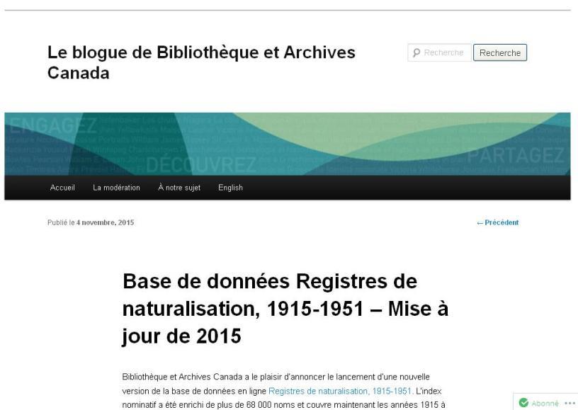 Registres de Naturalisation Canada 1915-1951