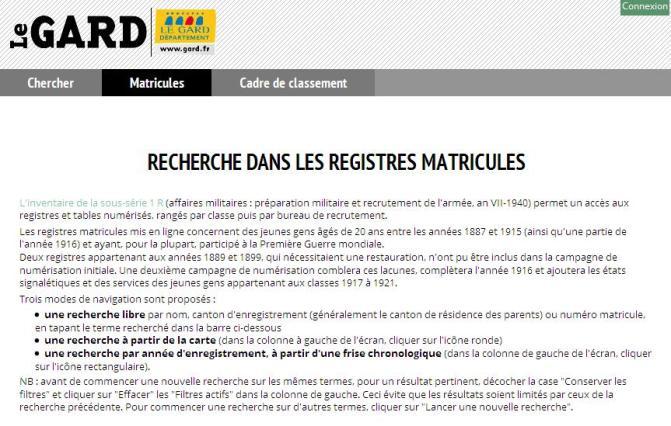 AD Gard - registres matricules