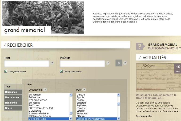 Grand Memorial Recherche