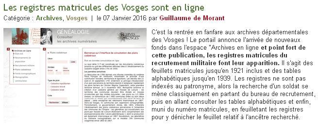 Matricules des Vosges