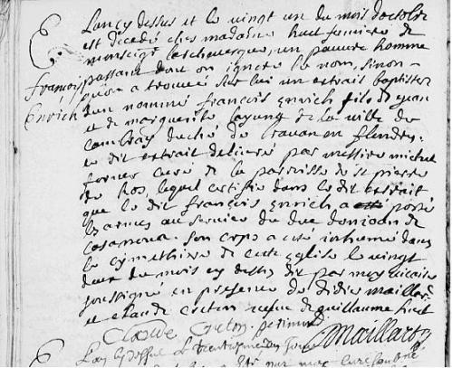 21 octobre 1693 – Enterrement de François Enrich