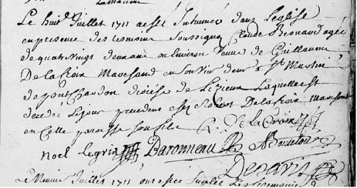 8 juillet 1711 +Claude Besnard église