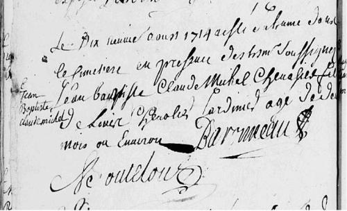 1714 le 19 aout Baptème de CHEVALIER Jean-Baptiste