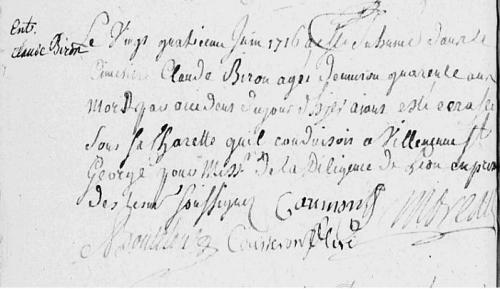 1716 24 juin - + Claude BIRON