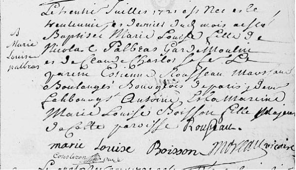 1721 30 juillet b Marie Louise Palbras