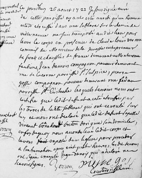 1722 le 27 aoust - Etouffé dans une sablière
