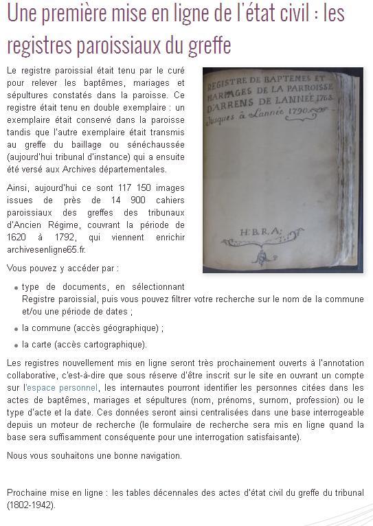 AD 65 registres paroissiaux du Greffe