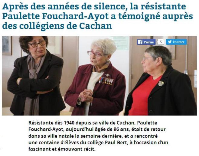 Cachan Résistante FOUCHERD-AYOT