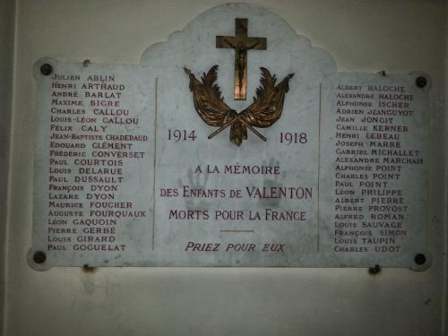 plaque a l'interrieur de l'église de Valenton