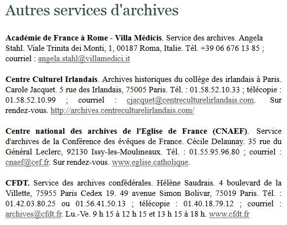 autres services d'archives
