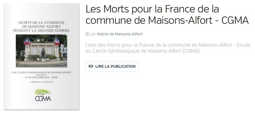 Morts de la commune de Maisons-Alfort