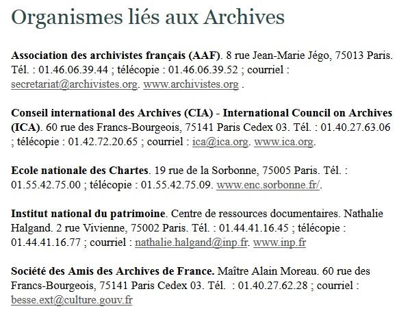 Organismes liés aux archives